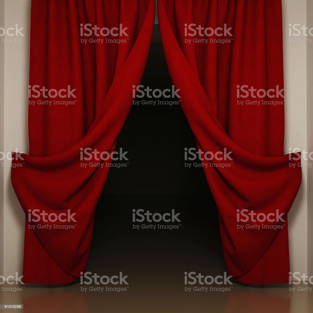 Thick red curtains draped open to reveal a pitch black room royalty-free stock photo