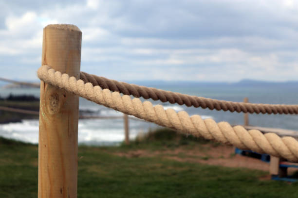 Thick rope fence stock photo