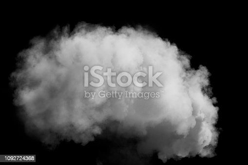 Thick smoke isolated on a black background black and white monochrome image