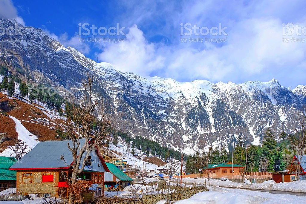 Thick snow covering mountain stock photo