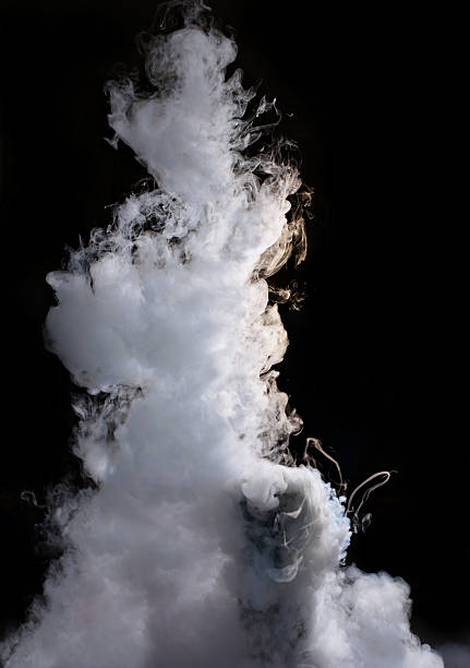 thick steam reaction of liquid nitrogen to a hot water liquid nitrogen stock pictures, royalty-free photos & images