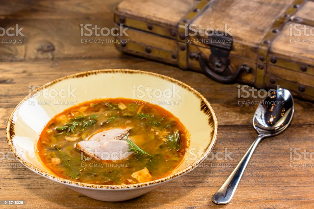 Thick vegetable soup with meat poured into a bowl. A traditional dish of Russian cuisine - Solyanka. stock photo