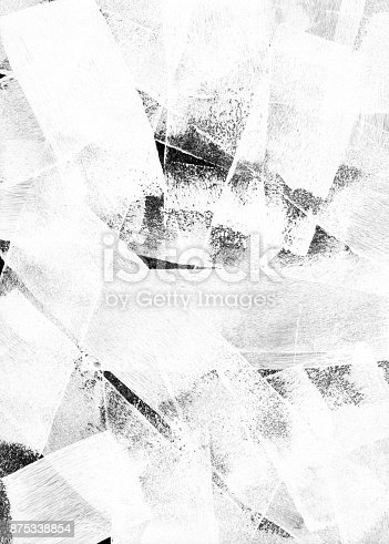 istock Thick white paint put on black background by paint roller - abstract texture background 875338854