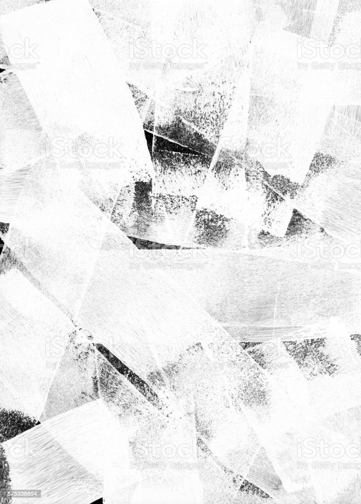 Thick white paint put on black background by paint roller - abstract texture background stock photo