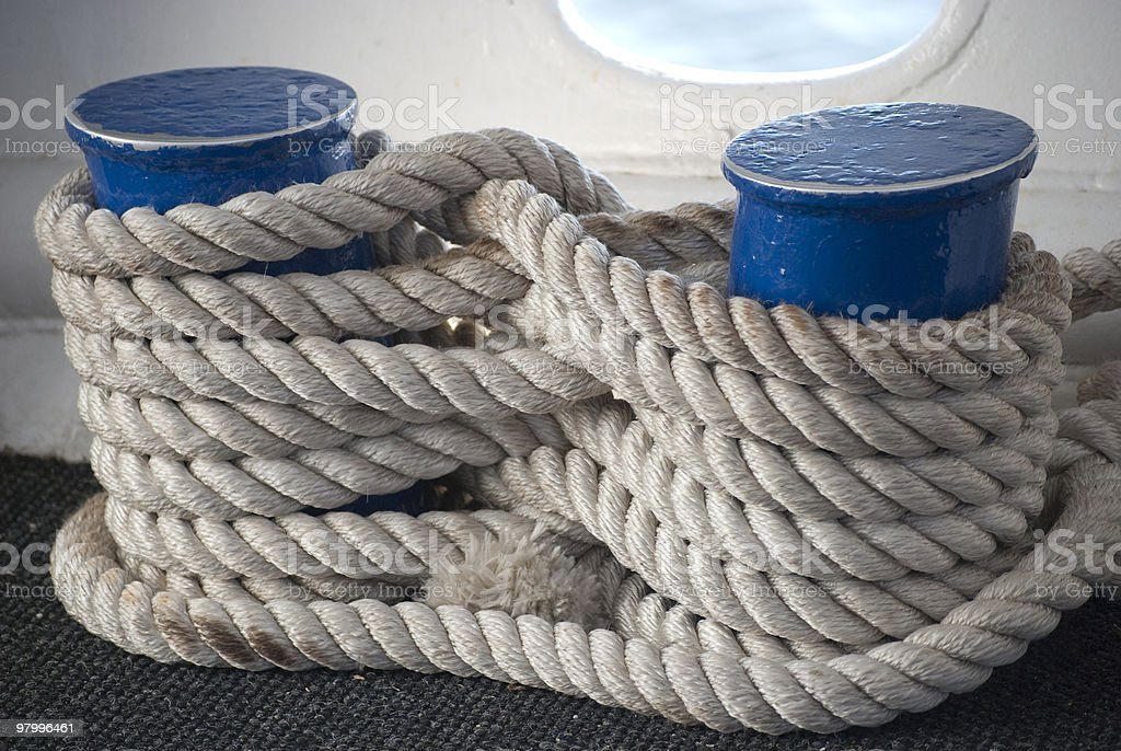 Thick white rope royalty-free stock photo