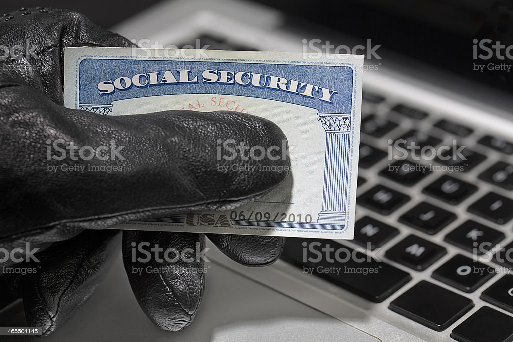 Thief and Social Security Card stock photo