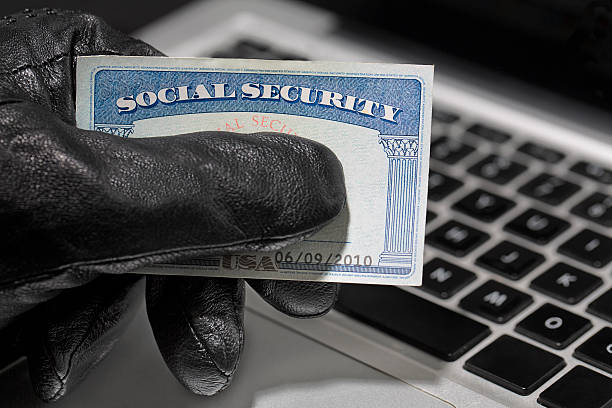 thief and social security card - identity stock photos and pictures