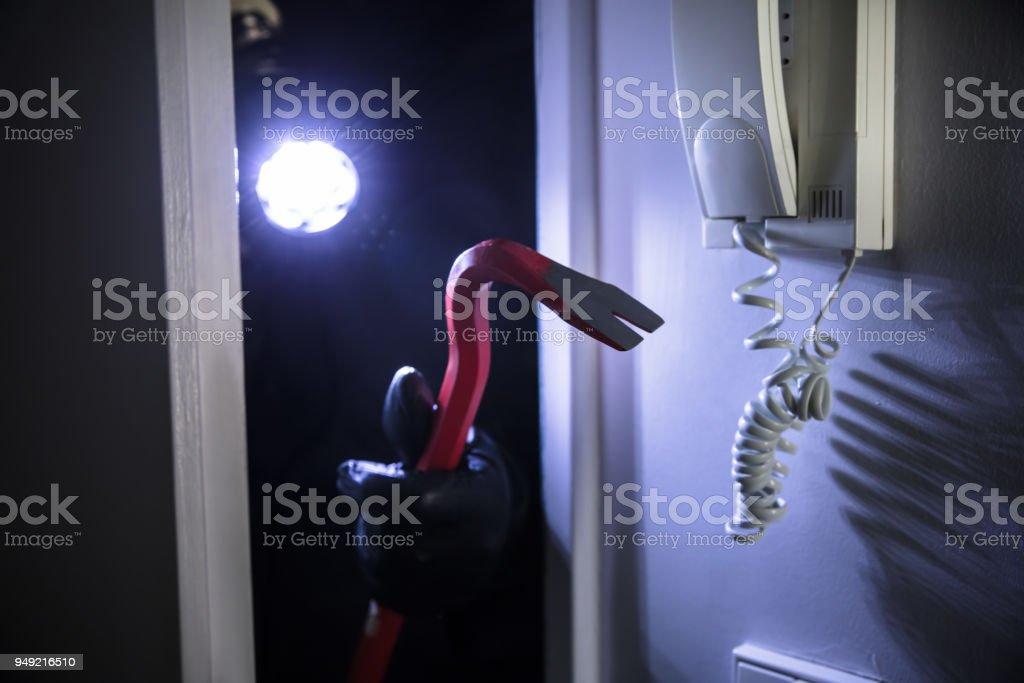 Thief Entering Into House stock photo