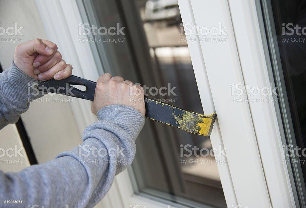 thief home crash stock photo