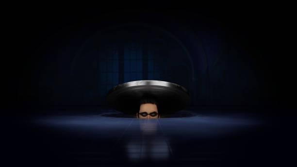 thief inside manhole - going inside eye imagens e fotografias de stock