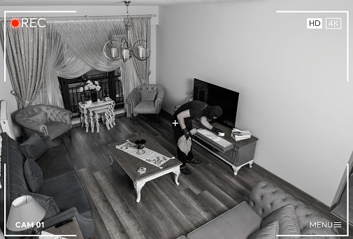 Thief Looking Security Camera In A House
