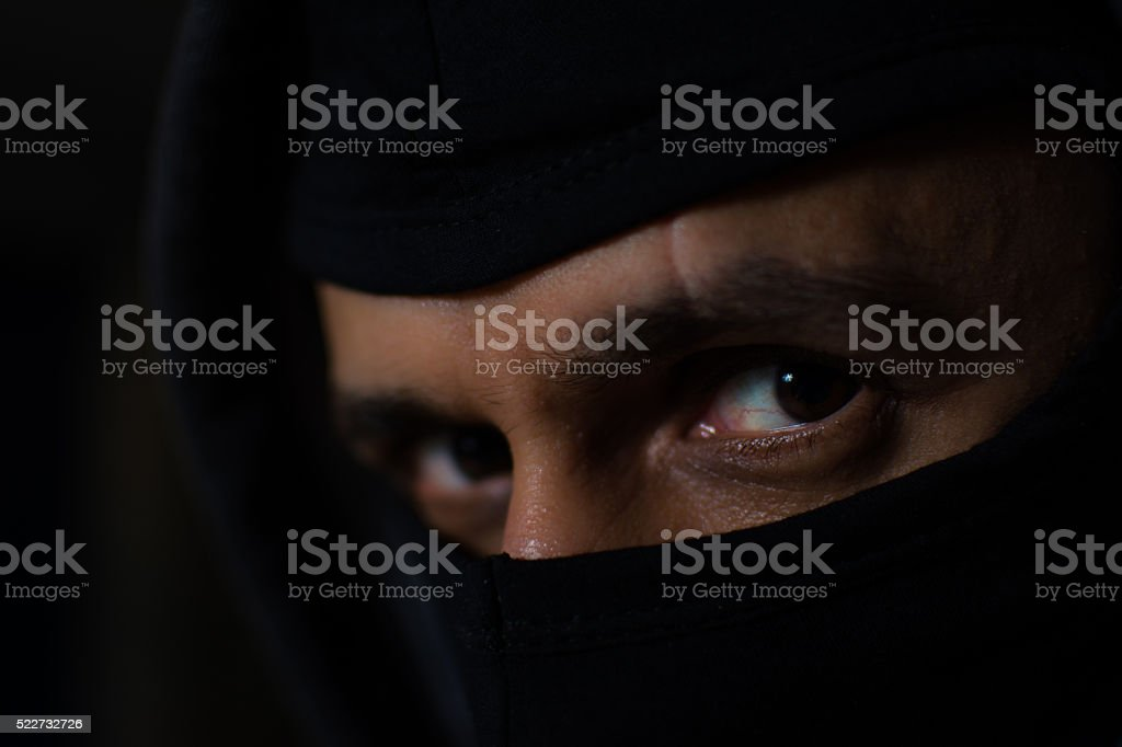 Thief with mask stock photo