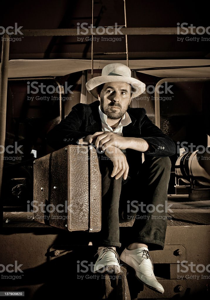 Thief with suitcase royalty-free stock photo