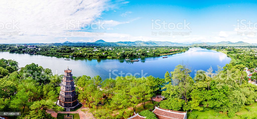 Thien Mu Pagoda, Hue, Vietnam from sky stock photo