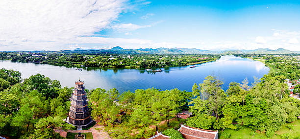 Thien Mu Pagoda, Hue, Vietnam from sky Thien Mu padoga on day a famous place for Hue tourism ancient temple of buddhism with old architect located on the Huong river Vietnam huế stock pictures, royalty-free photos & images