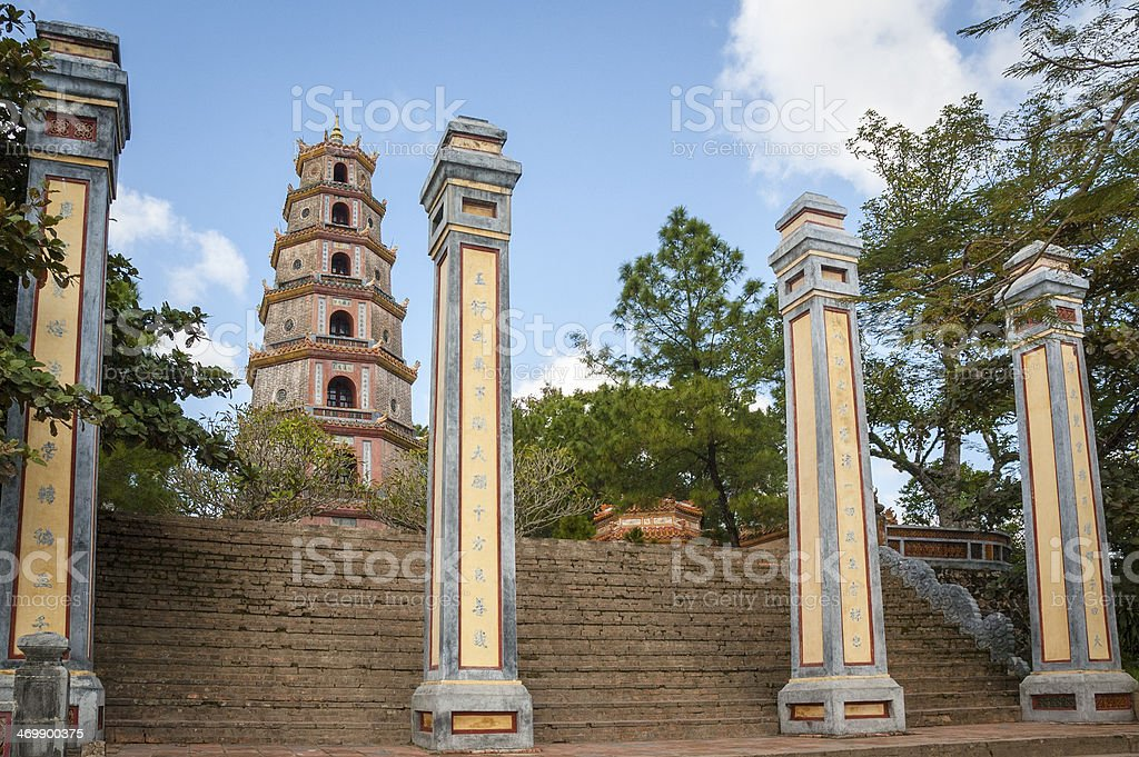 Thien Mu Pagoda Near Hue In Vietnam royalty-free stock photo