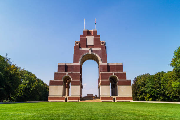 Thiepval Memorial A view of the Thiepval Memorial in France. somme stock pictures, royalty-free photos & images