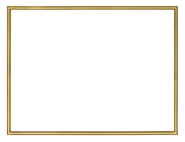 fino marco dorado, aislado sobre fondo blanco - delgado fotografías e imágenes de stock