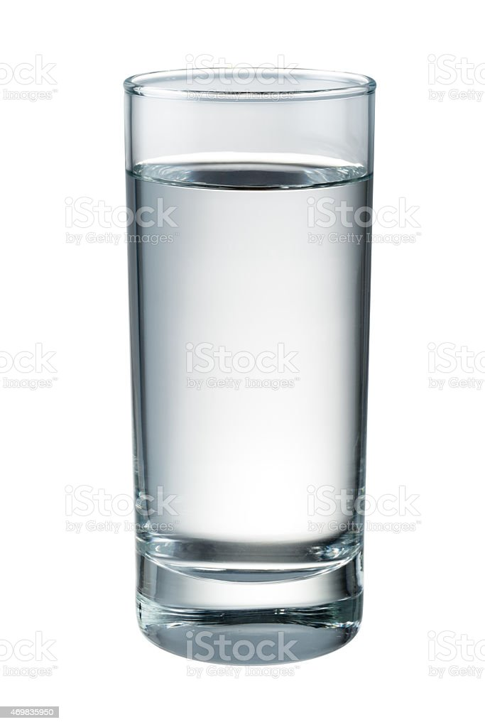 Thin long glass filled with water stock photo