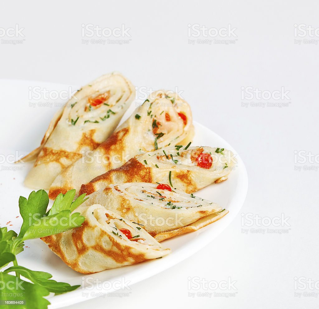 thin pancakes with caviar royalty-free stock photo
