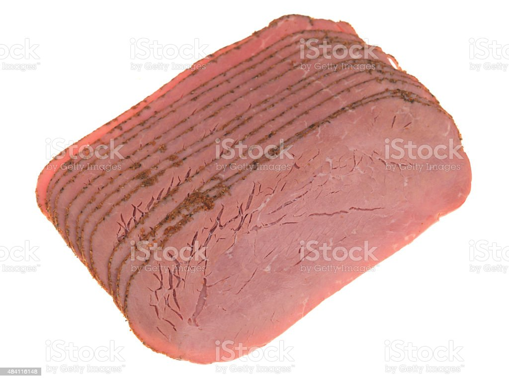 Thin Slices of Cold Cured Pastrami Beef stock photo