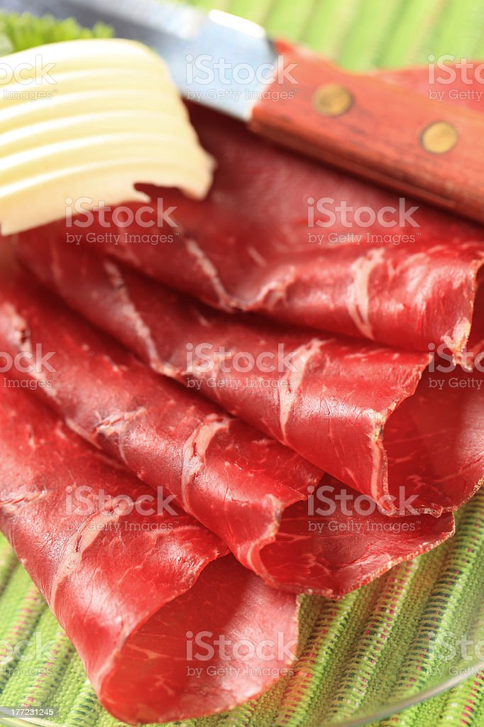 Thin slices of dried meat and butter royalty-free stock photo