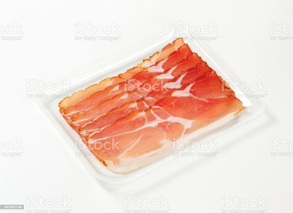 Thin slices of Schwarzwald ham stock photo