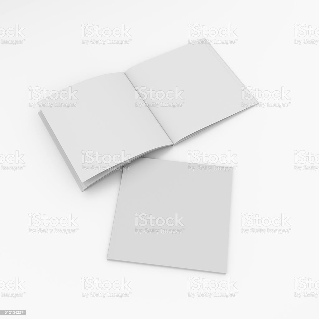 thin square format catalogs or magazines stock photo