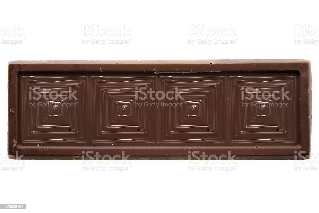 Thin squared chocolate bar top view stock photo