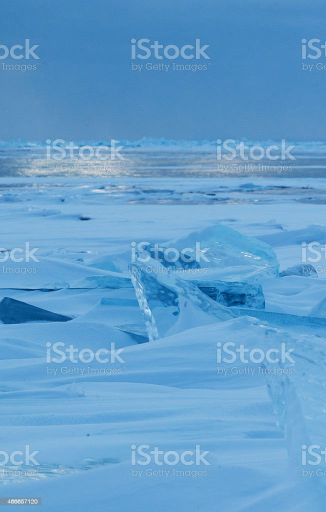 Thin transparent ice floes stock photo
