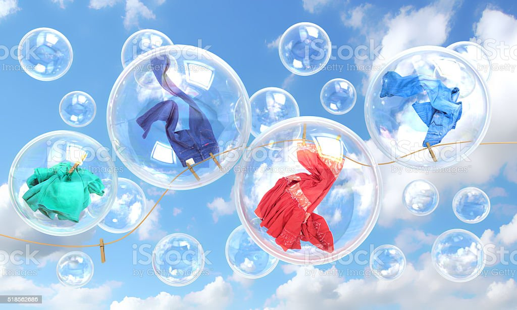 things falling in soap bubbles stock photo