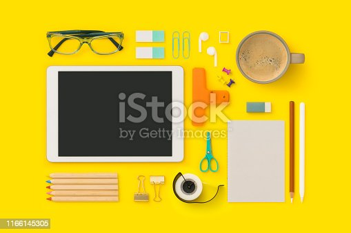 Things on my desk flat lay. Back to school flat lay on yellow background