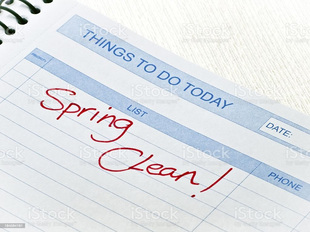 Things To Do Today Message-Spring Clean stock photo