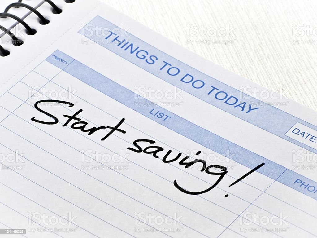 Things To Do Today Message-Start saving royalty-free stock photo