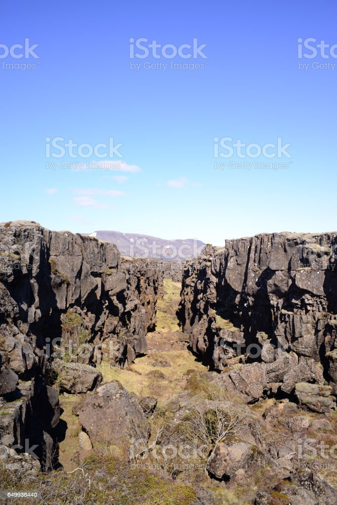 Thingvellir National park a famous area in Iceland right over the spot where the atlantic tectonic plates meets stock photo