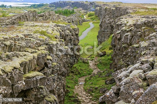 istock Thingvellir national park Iceland - north american - europe rift 1076578528