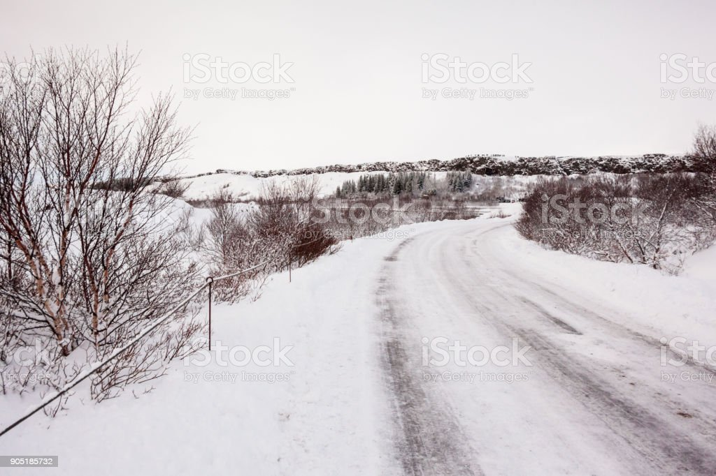 Thingvellir National Park or better known as Iceland pingvellir National Park during winter stock photo
