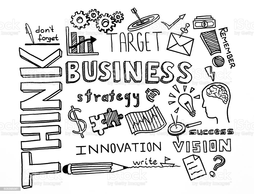 Think and Business Hand Drawn Doodles - Royalty-free Apparatuur Stockfoto