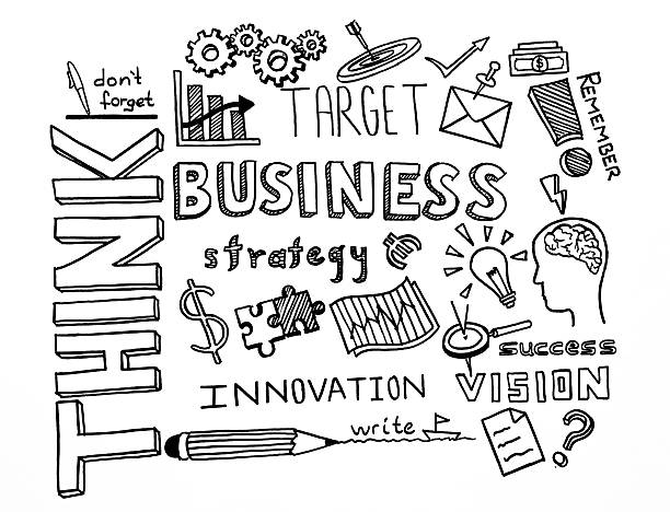 think and business hand drawn doodles - doodle stock photos and pictures
