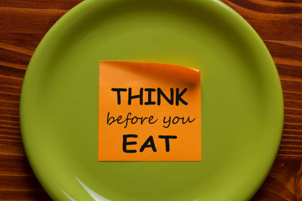 think before you eat - mindfulness stock photos and pictures