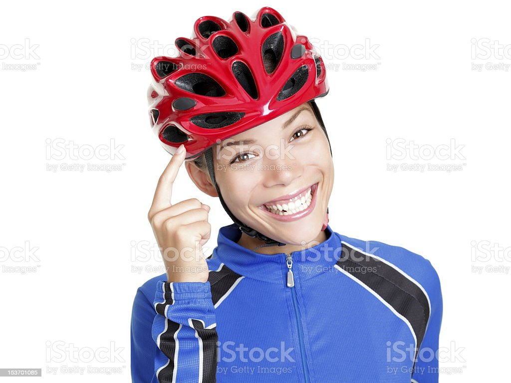 Think! Biking helmet woman isolated stock photo