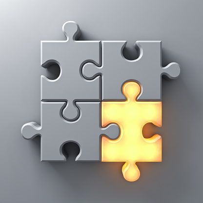 istock Think different concept , One light jigsaw puzzle piece standing out from the crowd on white wall background with shadow. 3D rendering 961154016