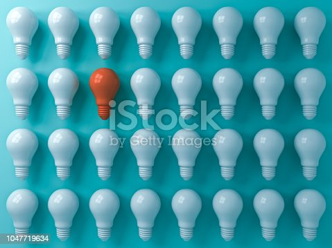 istock Think different concept One orange light bulb standing out from the white light bulbs on blue pastel color  wall background leadership and individuality creative idea concepts 3D rendering 1047719634