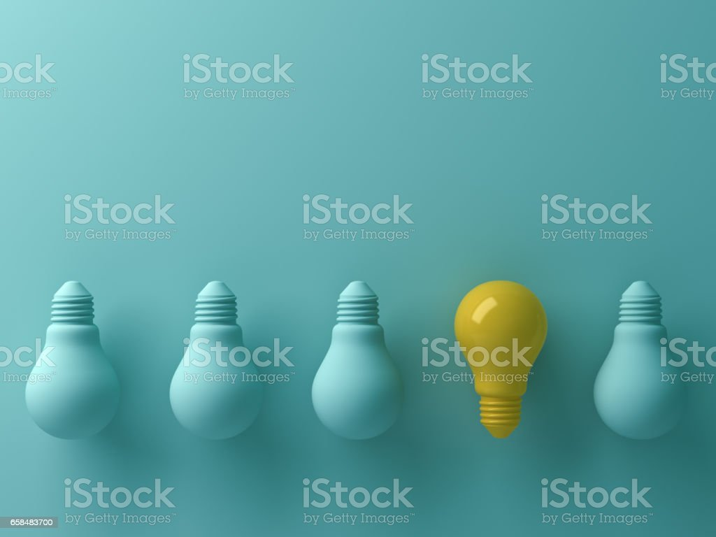 Think different concept , One yellow light bulb standing out from the unlit green incandescent lightbulbs with reflection and shadow , leadership and different creative idea concept. 3D render stock photo