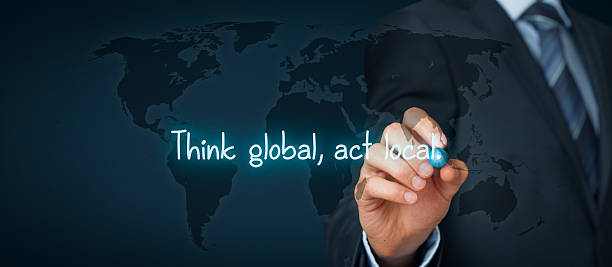 think global act local - responsible business stock photos and pictures