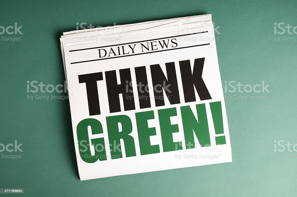 Think Green! Newspaper royalty-free stock photo