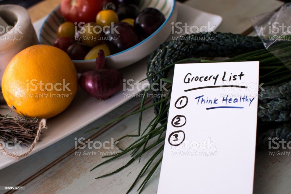 Think healthy grocery shopping list lifestyle still life stock photo