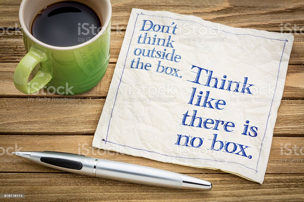 Think like there is no box. stock photo