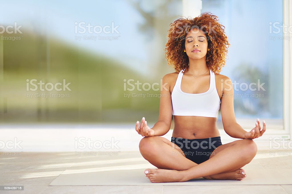 Think of yoga as physical therapy stock photo