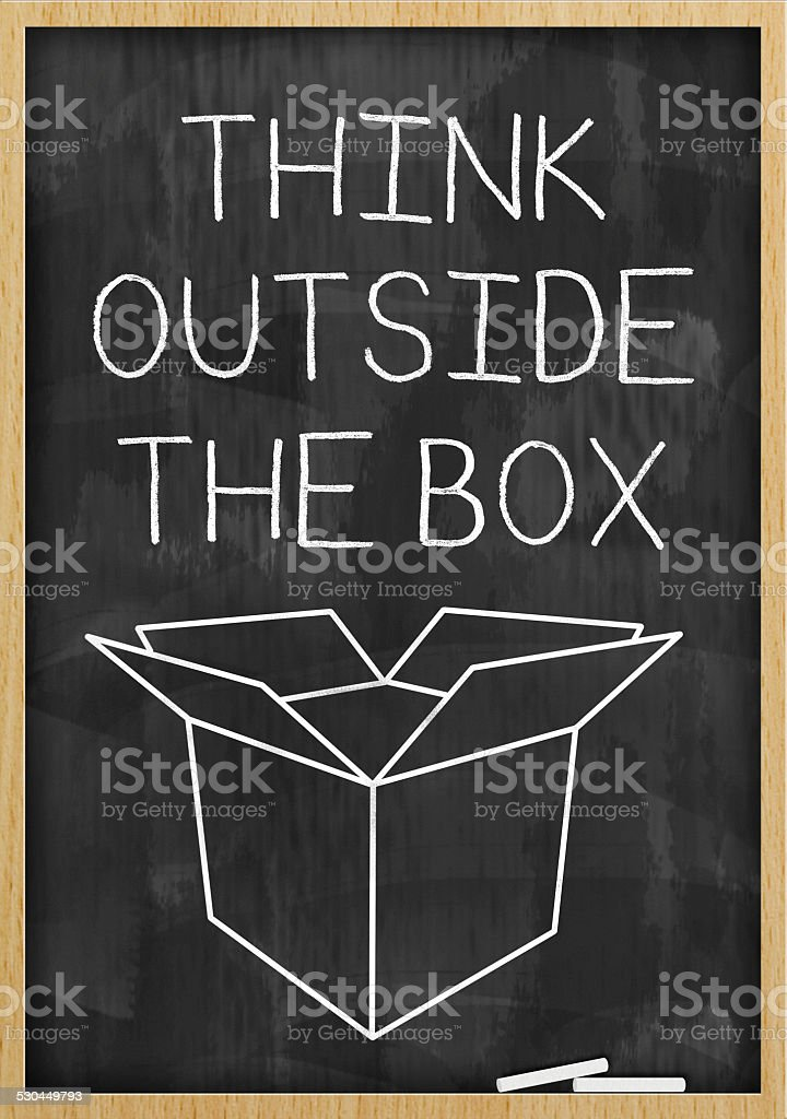 Think outside the box / Blackboard (Click for more) stock photo